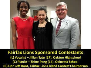 Fairfax Lions Sponsored Contestants